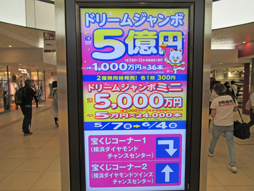横浜地下街のドリームジャンボ宝くじ5億円の看板