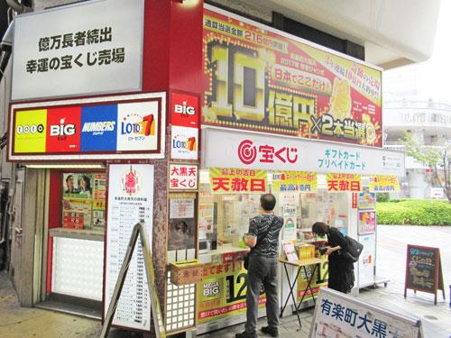 多くのお客さんでに賑わっている有楽町駅中央口大黒天売場