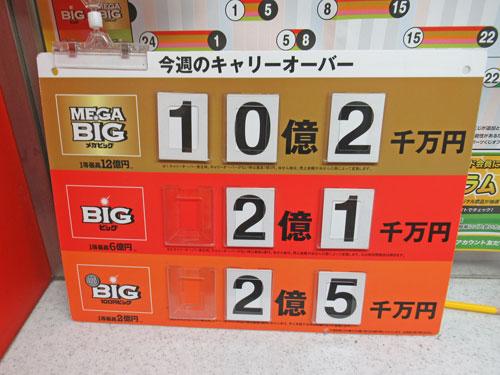 BIGのキャリーオーバーが10億円のかんばん