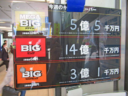 BIGのキャリーオーバーが14億円という看板