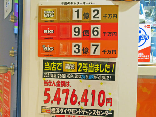 メガビックで2等547万円がでた看板