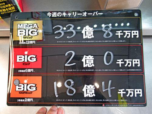 メガビック33億円と100円ビック18億円のキャリーオーバーの看板