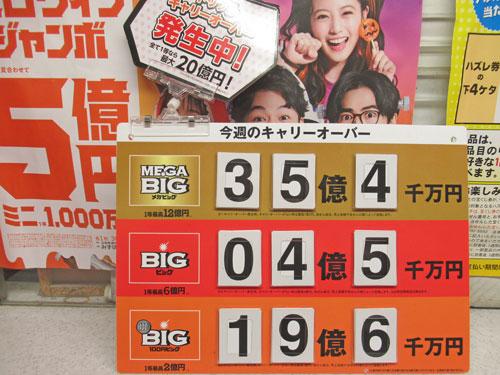 今週のキャリーオーバーはMEGABIGが35億円でBIGが4億円で100円BIGは19億円