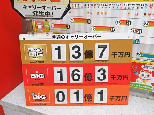 メガビックのキャリーオーバーが13億円という看板