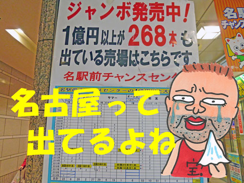 名駅前チャンスセンターの高額当選が出ているという看板