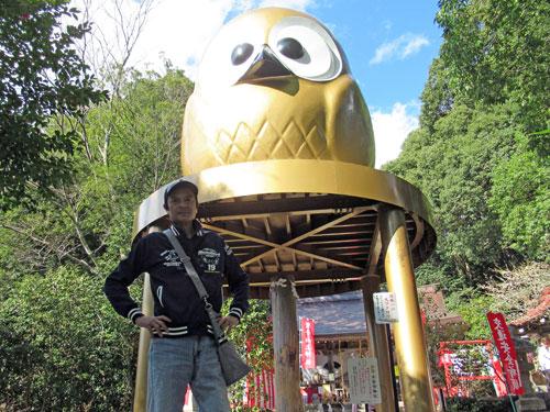 日本一のフクロウで記念撮影