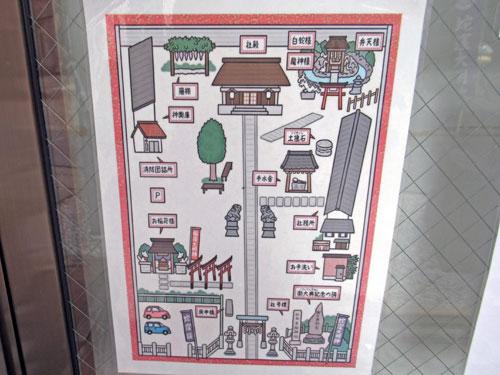 蛇窪神社の境内の地図