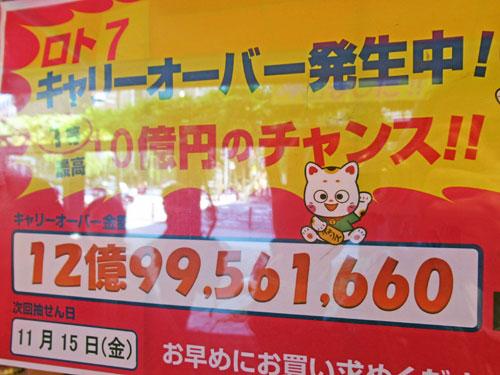 ロト7がキャリーオーバーで12憶円になっています