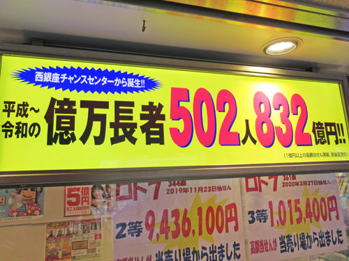 億万長者が502人832憶円が出ているという看板