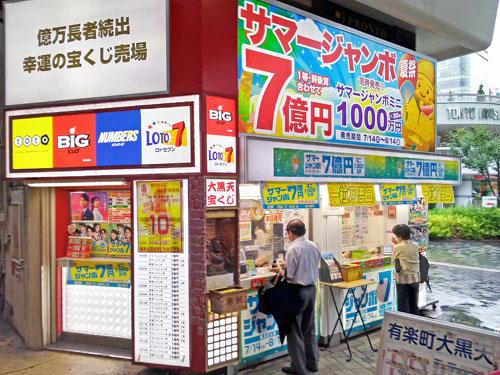 サマージャンボ宝くじ1等7憶円の派手な看板
