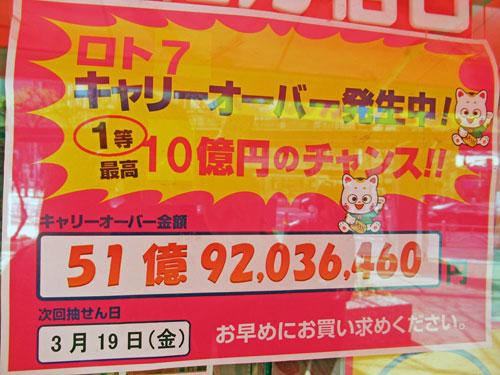 ロト7のキャリーオーバーが51億円