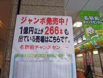 1億円以上の高額当選が266本出ているという看板