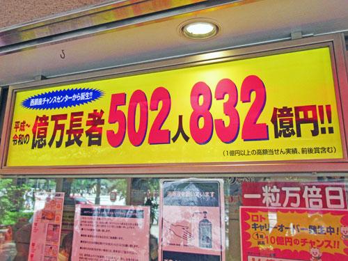 億万長者が502人832憶円も出ているという看板