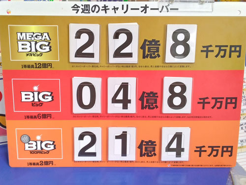MEGABIGは22億円で100円BIGは21億円のキャリーオーバー