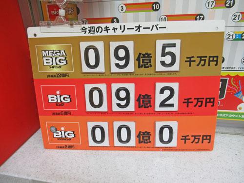 BIGとMEGABIGのキャリーオーバーが9億円という看板