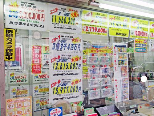 ロトやジャンボ宝くじの当選金額が貼ってある看板