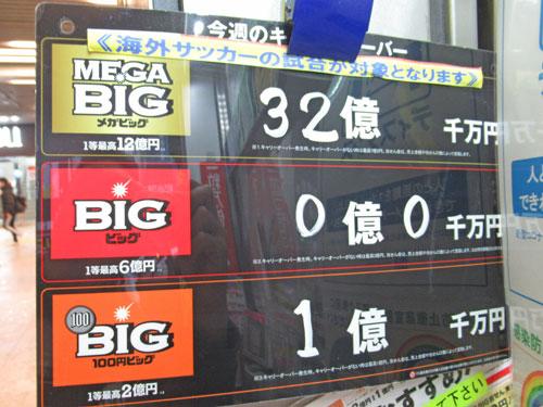 MEGABIGのキャリーオーバーが32億円という看板