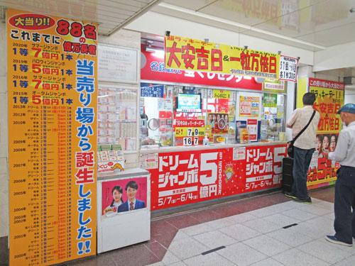 億万長者が88人も誕生と書かれた名鉄観光名駅地下支店の看板