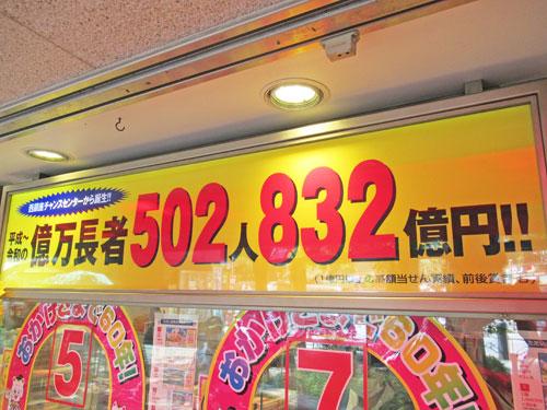 億万長者が502人で832億円も出ているという看板
