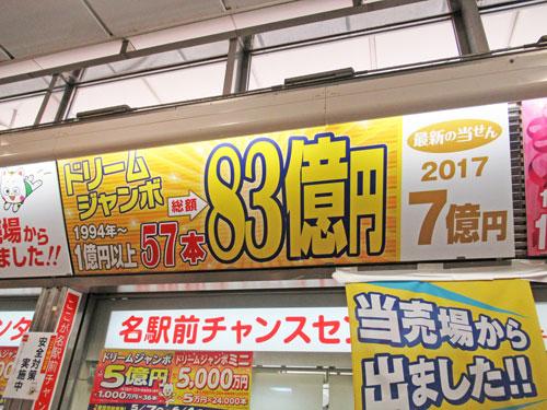 ドリームジャンボ宝くじで累計で83億円もでているという看板