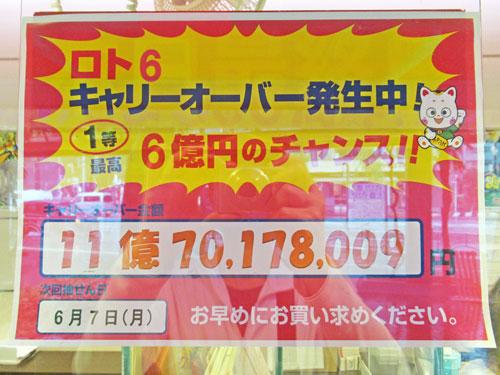 ロト6ノキャリーオーバが11億円という看板