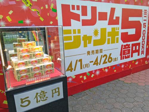 ドリームジャンボ宝くじ5億円の大阪の看板