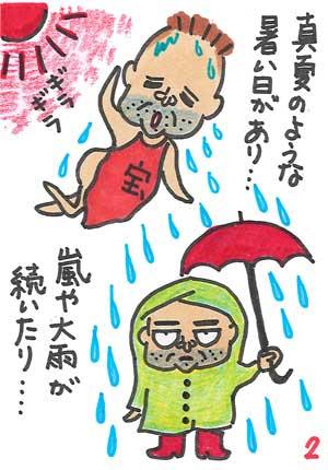 まんが。雨や暑い日があって大変です