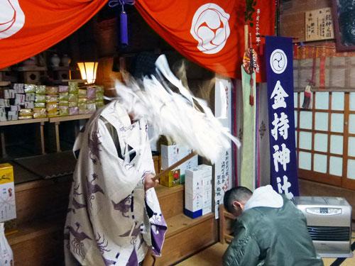鳥取県日野郡日野町の金持神社でバレンラインジャンボ宝くじ高額当選のご祈祷風景