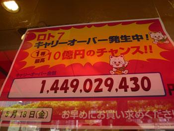 ロト7がキャリーオーバーで14億円