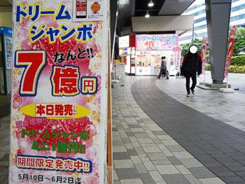 有楽町駅前のドリームジャンボ宝くじの看板