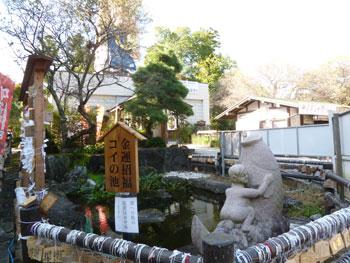 金運招福コイの池の看板